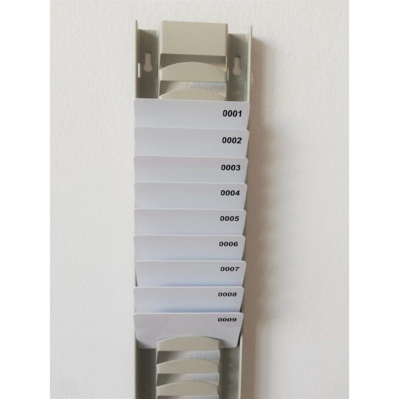 Casellario porta badge in metallo verniciato 30 posti per tessere plastiche 5,4 x 8,6 cm